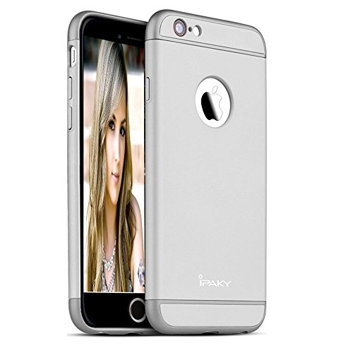 ipaky 3 piece hybrid protective Back Cover case for apple iphone 6 plus / 6s plus   silver