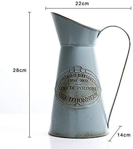 HyFanStr Metal Vase Shabby Chic Vase Tall Vase Rustic Pitcher Primitive Jug Milk Can Flower Holder for Decorative