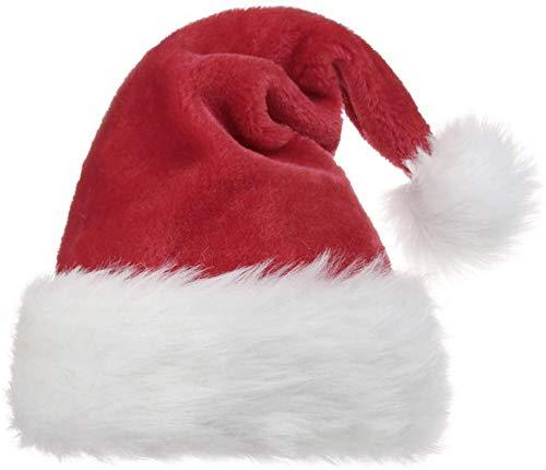 Plush Santa Hat (OPOLEMIN Santa Hat for Adults, Christmas Hat Plush Red Velvet & Comfort Liner Christmas Halloween Costume)