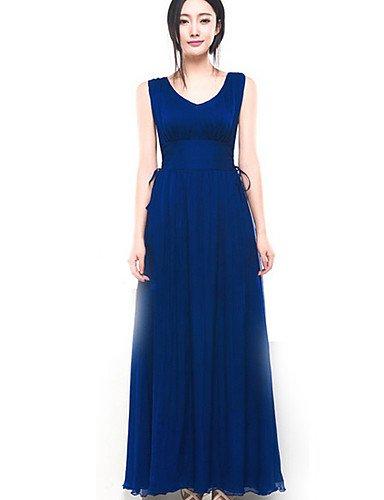 PU&PU Robe Aux femmes Gaine Street Chic,Couleur Pleine Col Arrondi Maxi Coton / Polyester , blue-m , blue-m