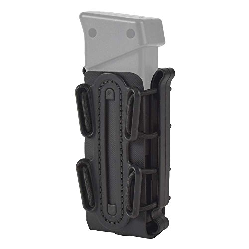 (SINAIRSOFT Tactical Universal MOLLE Mag Pouch Soft Shell Pistol Magazine Carrier for 9mm Black)