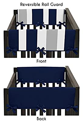 Baby Crib Side Rail Guard Covers for Boys Modern Navy Blue and Gray Stripe Bedding Collection by Sweet Jojo Designs that we recomend personally.