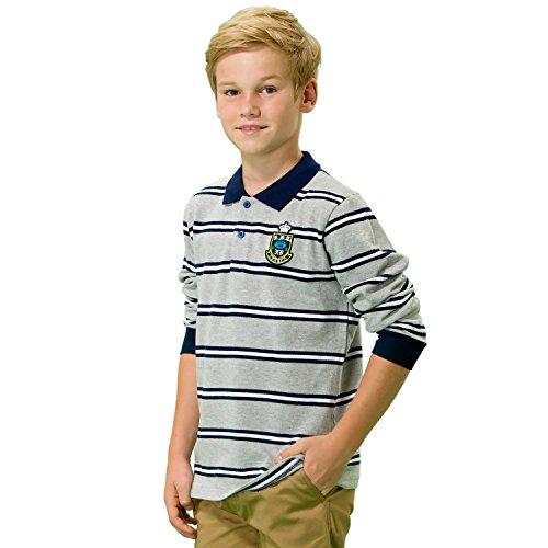 Leo&Lily Big Boys' Kids Long Sleeves Pique Casual Polo Shirts (Melange Stripes, 8)