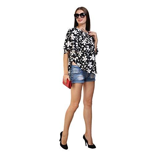 GLAMFAB Floral Printed Black Casual Kaftan Tops
