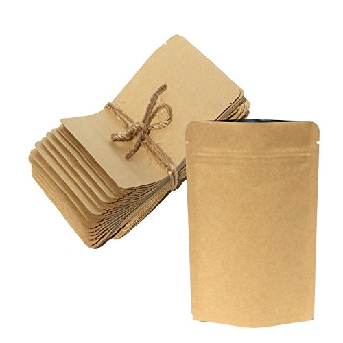 AwePackage Heavy Duty Kraft Paper Self Standing Resealable Zipper Pouch Bags (1 oz- 16 oz) - FDA and USDA compliant (50, 3 Oz)