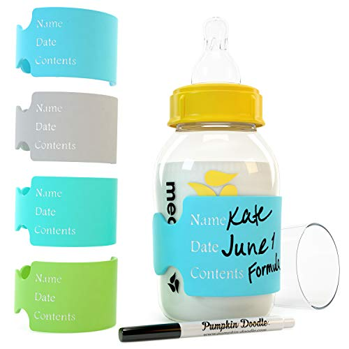 The Original Write & Reuse Baby Bottle Labels for Daycare - Available in 11 Colors (Cool Multi) -
