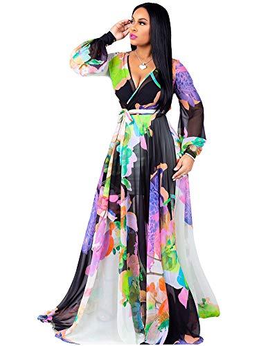 - Halfword Women's Summer Long Maxi Dresses - Floral Printed V Neck Long Sleeve Wrap Boho Dreses Black Purple