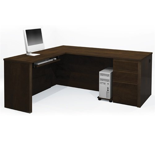 (Prestige Premium L-shaped Corner Computer Desk in Chocolate)