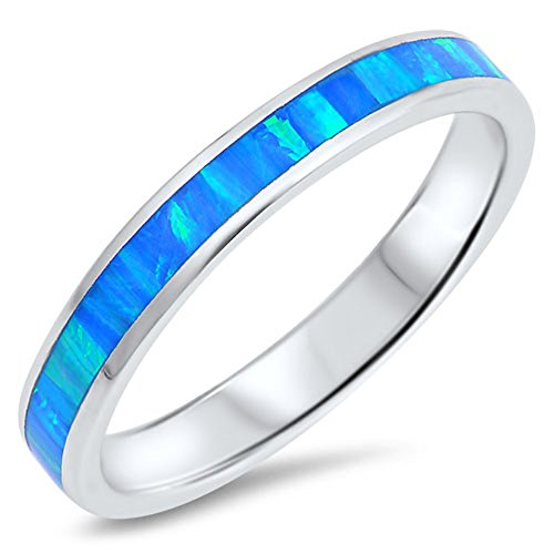 Blue Simulated Opal Stackable Eternity Wedding Ring Sterling Silver Band Size 5 ()