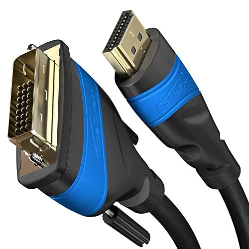 KabelDirekt 3m Cable HDMI a DVI, (High-Speed Cable de Adaptador, Dual Link, 24+1 Pin, DVI-D, Full HD, 3D, 1920 x 1080, para conectar Tarjetas gráficas con televisores), Top Series