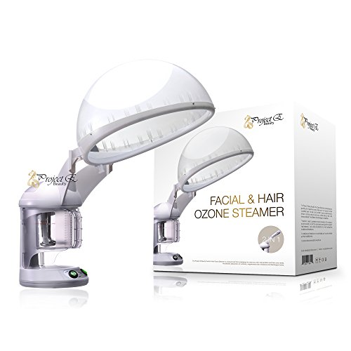 Project E Beauty Personal 2 in 1 Facial + Hair Steamer with O3 Ozone Steamer Device Home or Salon (Facial Steamer Ozone)
