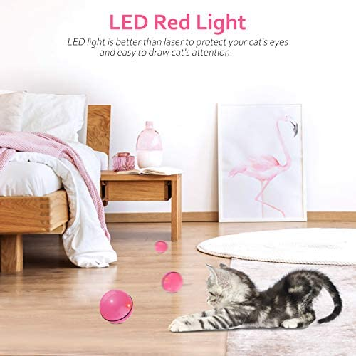 Interactive Cat Toys for Indoor Cat,Upgraded Version Self Rotating Electronic USB Rechargeable Wicked Cat Toy Ball with Build-in Red LED Light,Stimulate Hunting Instinct for Your Cat/Kitten (Red) 6
