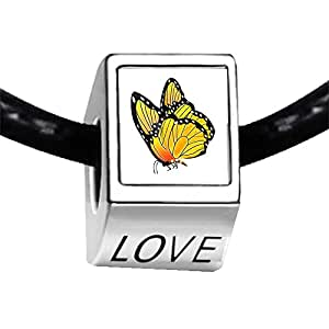 Chicforest Silver Plated Beautiful Lovely Butterfly Photo LOVE Charm Beads Fits Pandora Bracelets
