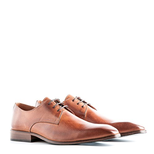 Travelin Heathrow Leather Derby Schnürhalbschuhe Herren | Lederschuhe | Hochzeitschuhe | Business Schuhe Anzugschuhe | Cognac 46 EU