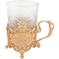 ZXLIADLY 200ml Gold Metal Saucer Coffee Glass Tea Cups Sets Embossing Flower Russian Glass Teapots Men Gift Bring You…
