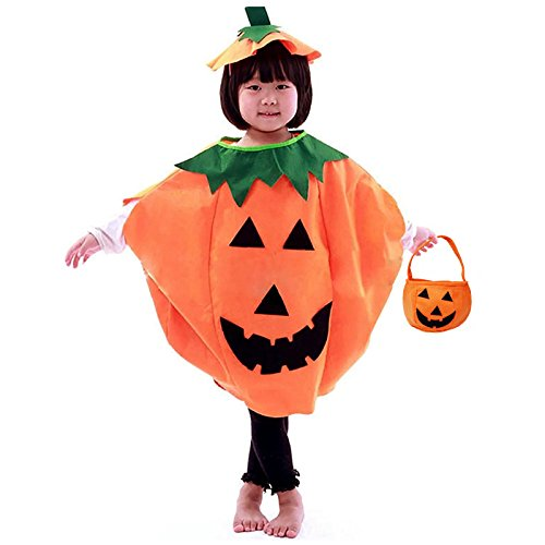 Festar Halloween 3PC Pumpkin Costume for Kids Children Cosplay Party Clothes (Orange) -