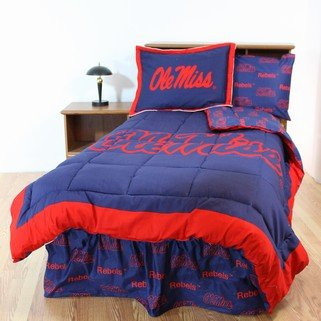 Ole Miss Rebels Valance - Ole Miss Rebels 6 pc. Twin Bed in Bag Set & 1 Curtain Valance - Includes: ( 1 Twin Reversible Comforter, 1 Sham, 1 Flat Sheet, 1 Fitted Sheet, 1 Pillow Case, 1 Bedskirt and 1 Curtain Valance)