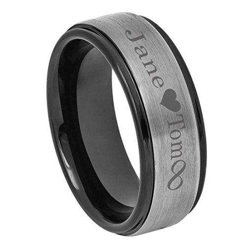 Personalized Outside Inside Engraving Tungsten Carbide Wedding Band Ring 8mm Brushed Center Black Ring