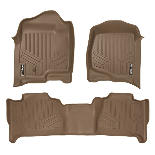 SMARTLINER Floor Mats 2 Row Liner Set Tan for 2007-2014 Cadillac Escalade (No Hybrid Models)