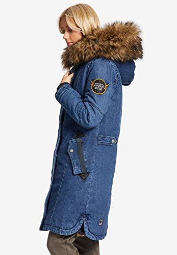 Khujo En Meryem Amovible Fourrure Pour Denim Femme Jeansblau Synthétique Manteau rSrxqwdE