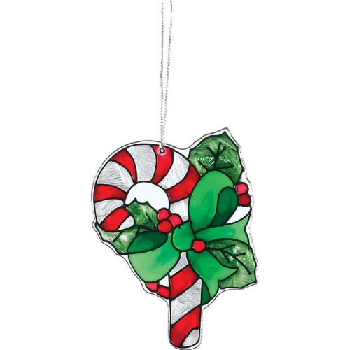Art Painted Glass Holiday (Candy Cane Tiny Hand Painted Art Glass Suncatcher Holiday Decor)