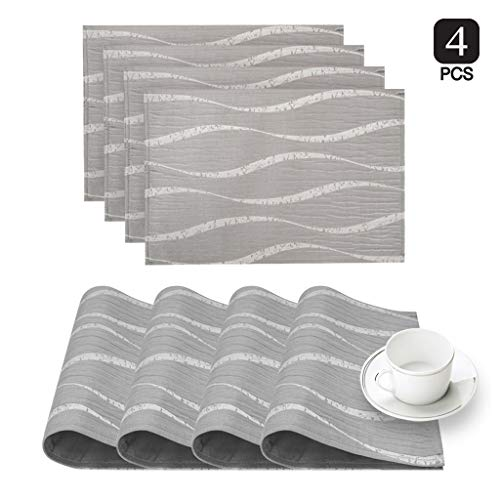 (Dainty Home Morocco Fabric Placemat Set of 4 Wavy Deisgn, Silver)