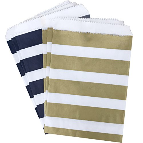 Navy Blue Gold and White Treat Sacks - Stripe Favor Bags - 5.5 x 7.5 Inches - 48 Pack (Sacks Treat)