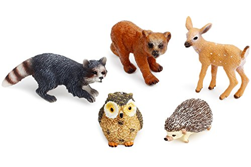 - UANDME Forest Animal Figures Cake Toppers, Woodland Creatures Toy Figurines Babies Set