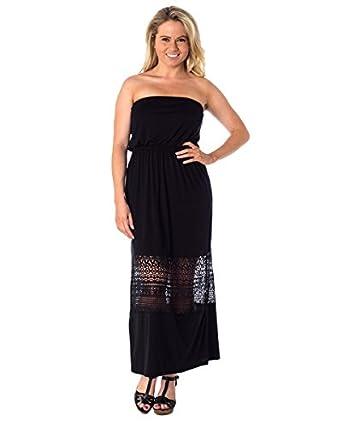 Women's Strapless Lace Maxi Tube Dress at Amazon Women's Clothing ...