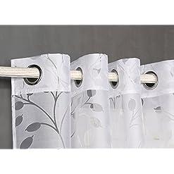 Tenda trasparente con occhielli, da 140 x 260 cm, per soggiorno, camera da letto e camera.Modello Burnout Alborea 140_x_260_cm bianco