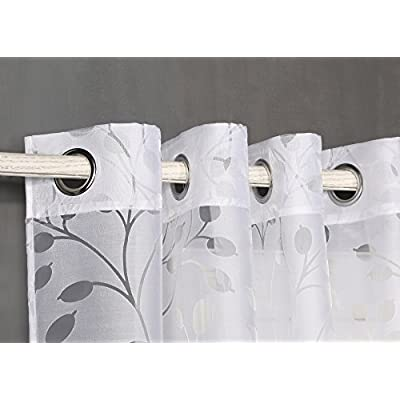 Tenda trasparente con occhielli, da 140x 260cm, per soggiorno, camera da letto e camera.Modello Burnout Alborea 140_x_260_cm bianco