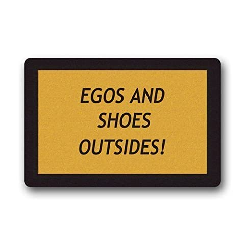 Quotes Humor Egos and Shoes Outside Machine Washable Doormat Gate Pad Rug 23.6