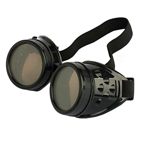 WEICHUAN New Sell Vintage Steampunk Goggles Glasses Cosplay Cyber Punk Gothic(Black)