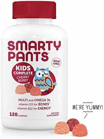SmartyPants Kids Complete Cherry Berry Daily Gummy Vitamins: Gluten Free, Multivitamin & Omega 3 Fish Oil (DHA/EPA Fatty Acids), Methyl B12, Vitamin D3, Non-GMO, 120 Count (30 Day Supply)