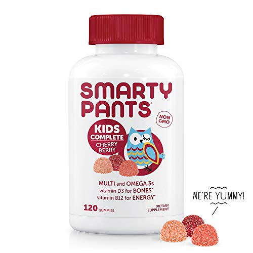 SmartyPants Kids Complete Cherry Berry Daily Gummy Vitamins: Gluten Free, Multivitamin & Omega 3 Fish Oil (DHA/EPA Fatty Acids), Methyl B12, Vitamin D3, Non-GMO, 120 Count (30 Day Supply)