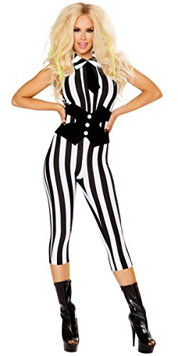 Sexy Beetlejuice Scary Spirit 3/4 Catsuit with Tie and Waist Cincher - Black/White - (Sexy Beetlejuice Costumes)