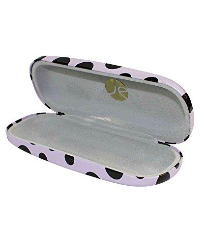 JAVOedge Black Polka Dot Purple Eyeglass / Reading Glass Hard Case and Bonus Mircofiber Cleaning Cloth