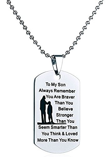 Amazon To Son From Dad Mom Dog Tag Necklace Military Mens Boy