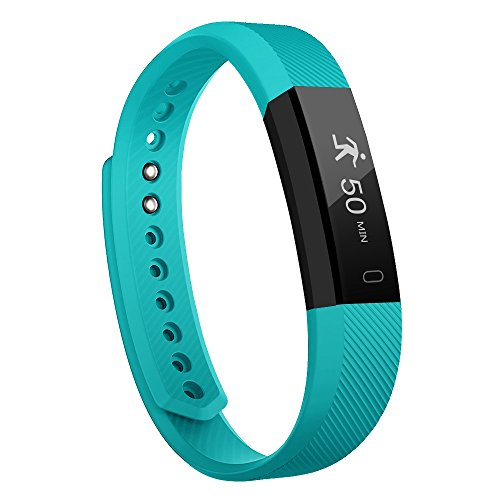 Fitness Tracker - MoreFit Slim Touch Screen Activity Health Tracker Wearable Pedometer Smart Wristband - Black Teal
