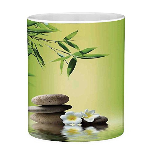 - Funny Coffee Mug with Quote Bamboo Spa Decor 11 Ounces Funny Coffee Mug Japanese Therapy Relaxation Stones Frangipani Flowers