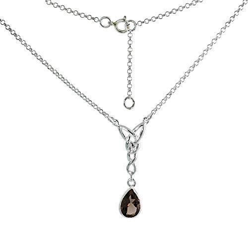 (Sterling Silver Celtic Teardrop Necklace with Genuine Smoky Topaz, 16-17 inch)
