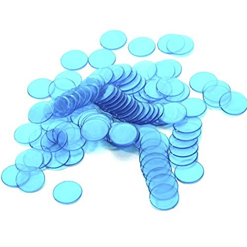 TOOGOO 約100件3/4インチのプラスチック製ビンゴクリップ 半透明デザイン クラスルームとカーニバルビンゴゲームの為 青
