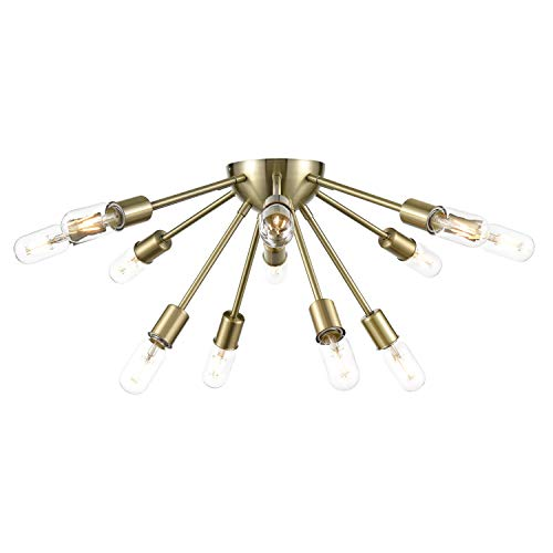 Light Society LS-C254-AB Sputnik 12 Ceiling Pendant in Antique Brass, Retro Mid-Century Modern Lighting Style