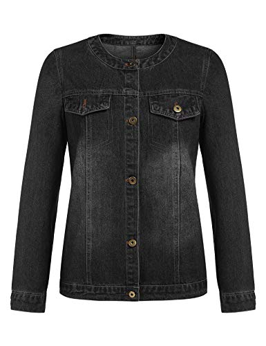 Pinspark Long Sleeve Denim Jacket for Women, Classic Casual Jean Coat with Pockets (Black S)