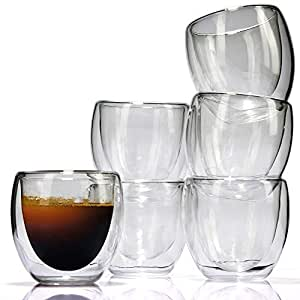 Espresso Cups Set (6 Pieces) - Double Wall Thermo Insulated Glass - by LVKH