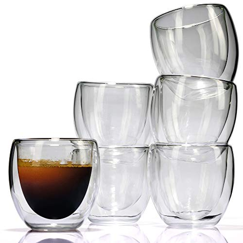 Espresso Cups Set (6 Pieces) - 3 oz. Double Wall Thermo Insulated Glass - by LVKH