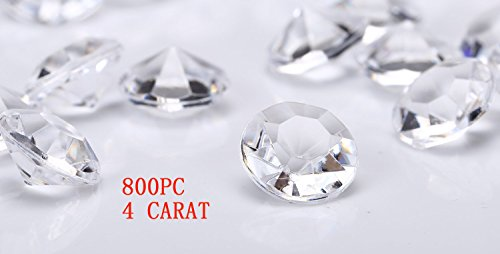 jollylife 800 Diamond Table Confetti Wedding Bridal Shower Party Decorations 4 Carat/ 10mm Clear]()