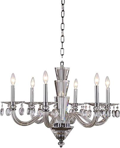 Elegant Lighting Chandelier Augusta Traditional Antique 6-Light Chrome Crystal Glass ()