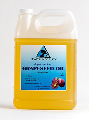 Grapeseed Oil Organic Cold Pressed Premium Quality Natural 100% Pure 128 oz, 7 LB, 1 gal