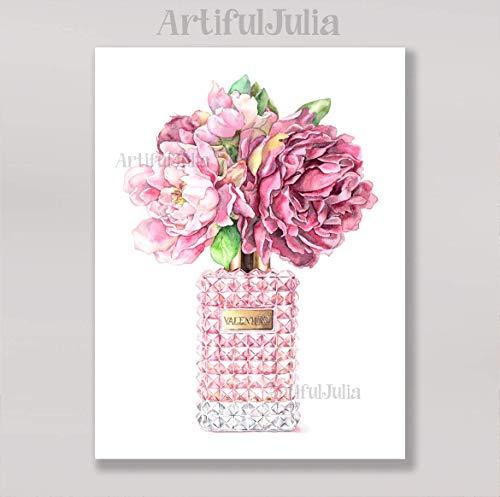 (Flower vase art print of watercolor painting, (NO FRAME),5